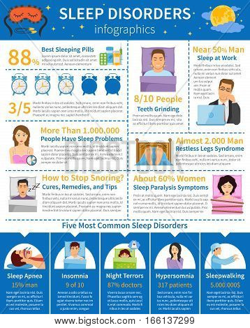 Sleep disorders infographics with common sleeping problems paralysis snoring teeth grinding with people characters and alarms vector illustration