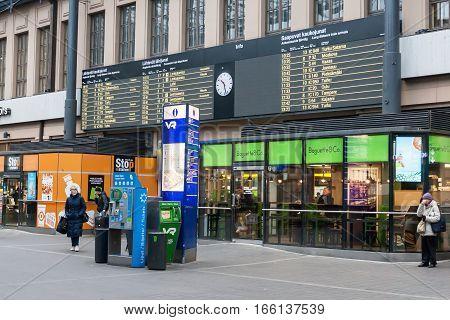 Helsinki, Finland - October 25:railway Station Of The City Of Helsinki,..finland- October 25 2016.in