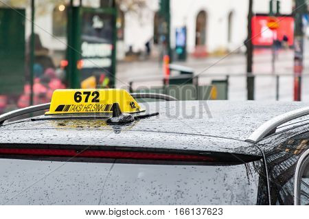 :helsinki, Finland - October 25:taxi On Streets Of Helsinki,.. Finland - October 25 2016.in Finland