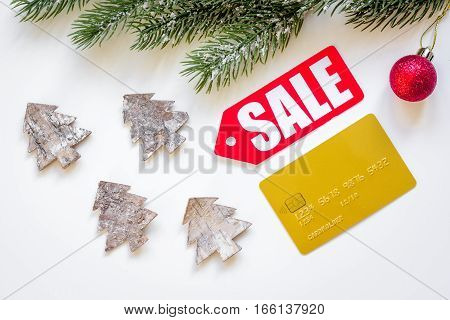 Christmas sales on white background top view.