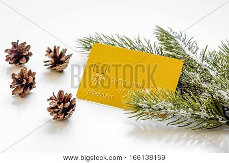 Christmas sales on white background close up.