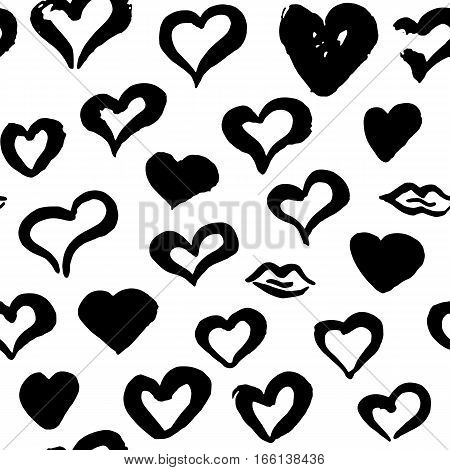 Grunge Brush Hearts Seamless Pattern. Vector Illustration of Hand Drawn Tileable Background.