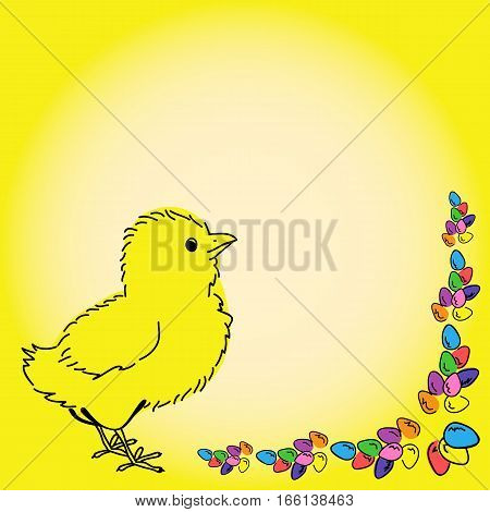 Easter design chicken and easter eggs colorful background.