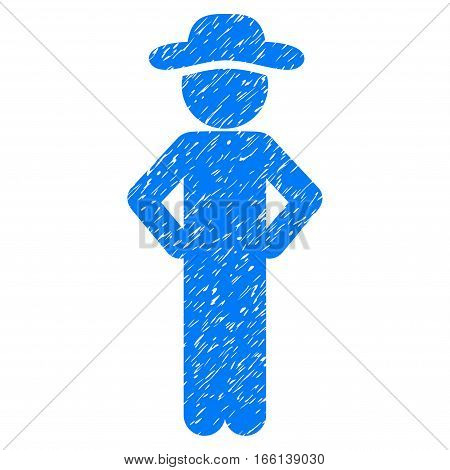 Gentleman Akimbo grainy textured icon for overlay watermark stamps. Flat symbol with dirty texture. Dotted vector blue ink rubber seal stamp with grunge design on a white background.