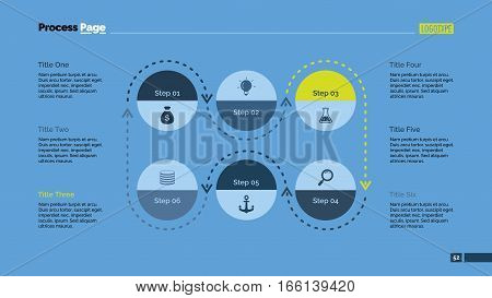 Six stages process chart. Business data. Cycle, diagram, design. Creative concept for infographic, templates, presentation, report. Can be used for topics like marketing, management, production.