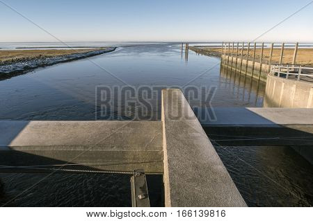 Lock from dam to National Park Wadden Sea. Hojer Denmark.