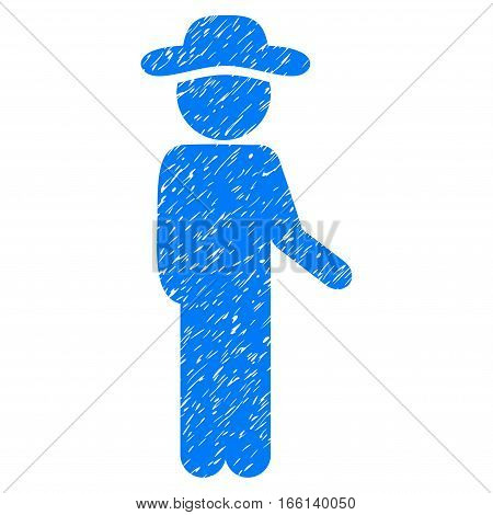 Gentleman Idler grainy textured icon for overlay watermark stamps. Flat symbol with scratched texture. Dotted vector blue ink rubber seal stamp with grunge design on a white background.
