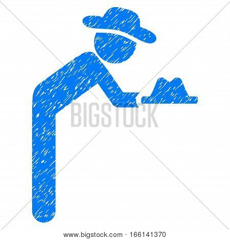 Gentleman Servant grainy textured icon for overlay watermark stamps. Flat symbol with dust texture. Dotted vector blue ink rubber seal stamp with grunge design on a white background.