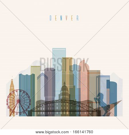 Transparent styled Denver state Colorado skyline detailed silhouette. Trendy vector illustration