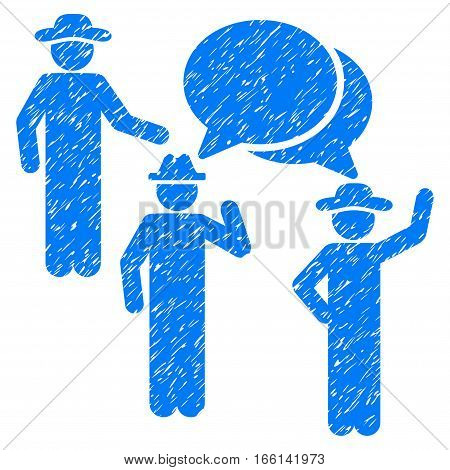 Gentlemen Discussion grainy textured icon for overlay watermark stamps. Flat symbol with dust texture. Dotted vector blue ink rubber seal stamp with grunge design on a white background.