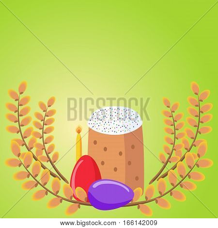 Easter background with Easter cakes eggs willow and a candle. Traditional Orthodox Easter symbols.