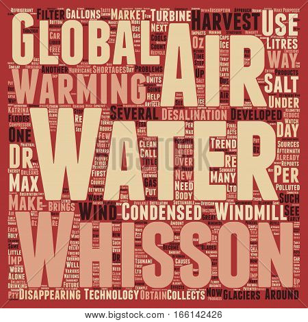 How To Make Water From Air text background wordcloud concept