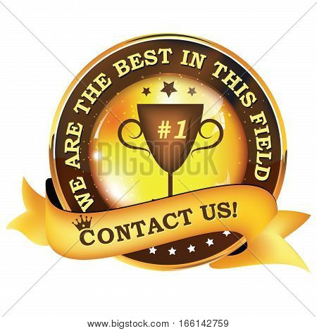 We are the best in this field. Contact us! - shiny business / consultancy icon / label