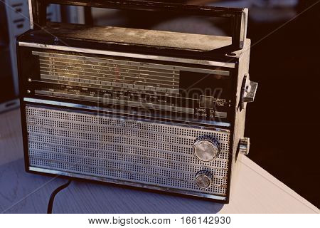 Photo of retro radio. Abstraction of old technique.
