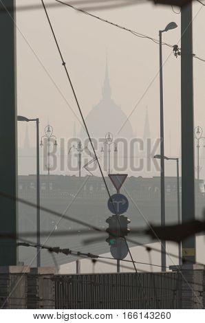 Smog settled over Budapest, Hungary on 21 January, 2017