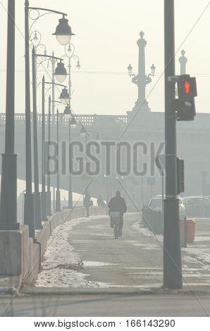 Smog settled over Budapest, Hungary on 21th January, 2017