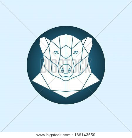 White polar bear. Abstract monochrome polar bear portrait of circles isolated on blue background. Vector illustration.