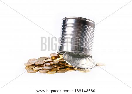 Open galvanized metal tin can and a bunch of Russian gold-colored coins