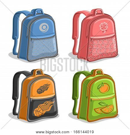 Vector set colorful kids Backpacks, blue boys college back bag with handle, pink girl fashion rucksack with pocket, orange youth sports backpack for school, green trendy knapsack with straps for kid.