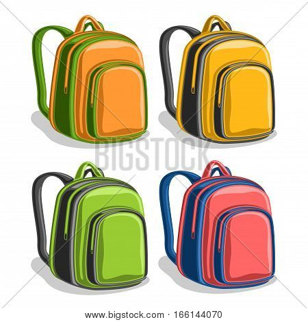 Vector set colorful school Backpacks, orange boys student back bag with handle, yellow sports big rucksack with pocket, green youth hiking backpack for travel, red trendy knapsack with straps for kids