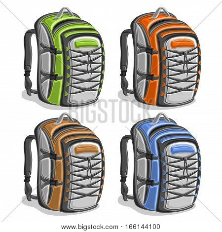 Vector set colorful touristic Backpacks, green simple travel back bag with handle, orange hiking big rucksack with laces, brown large sports backpack for tourism, blue school bag with straps for trip.