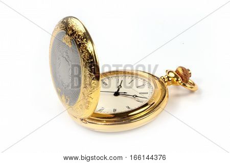 antique vintage pocket watch in gold case as a symbol of good luck and success