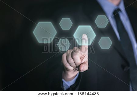 Businessman Uses Touchscreen