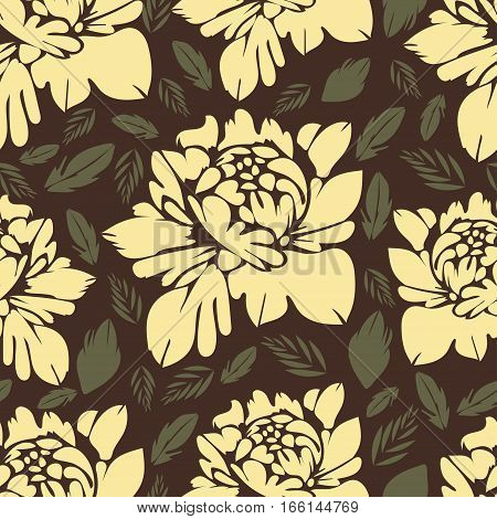 Abstract Flowers Seamless Pattern. Vintage Floral Background. Yellow Buds And Leaves On A Brown . Fo