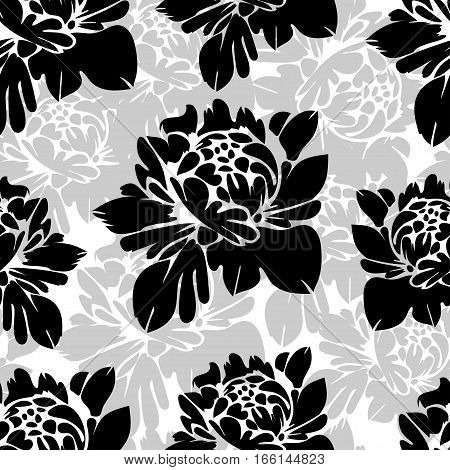 Abstract Black And White Flowers Seamless Pattern. Vintage Monochrome Floral Background.  Buds On A