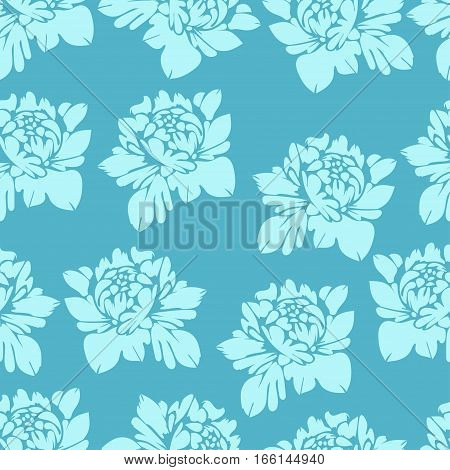Abstract Flowers In Blue Tones, Seamless Pattern. Vintage Floral Background. Light  Buds On A Dark