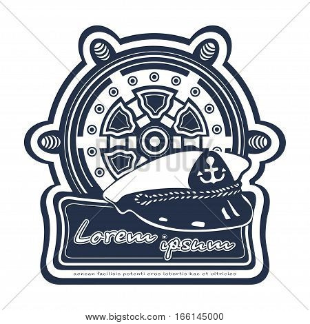 Sea travel logo. Ship steering wheel helm rudder cap ship's captain. Maritime label emblem banner. Isolated vintage vector illustration
