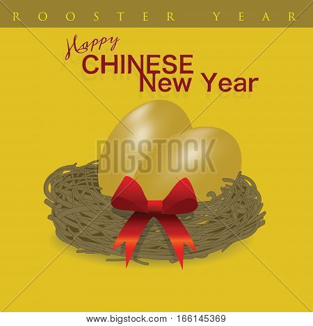 Rooster Chinese New Year is present concept with golden eggs. Meaning to give the most precious gift to the belief of the Chinese people.