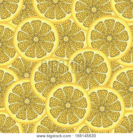 Slices Of Lemon In A Cut, Seamless Pattern, Fruit Background. Painted Citrus, Graphic Art, Cartoon.