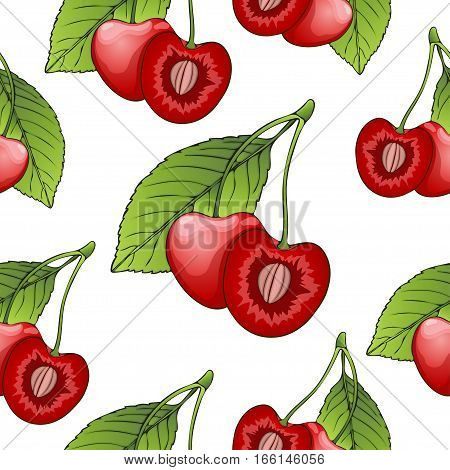 Cherries In A Cut With Bone, Seamless Pattern, Berry Background. Painted Fruit, Graphic Art, Cartoon