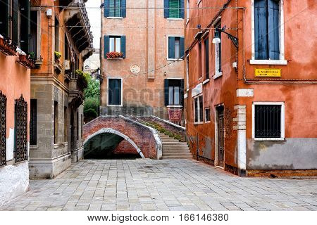 Typical square in the city of Venice in Italy