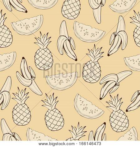 Pineapple, Watermelon, Banana In Beige Tones, Monochrome, Vintage Seamless Pattern, Fruit Cartoon Ba