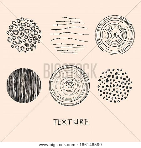 Hand drawn textures and brushes. Artistic collection of design elements: brush strokes paint dabs wavy lines abstract backgrounds hatch patterns made with ink. Isolated vector.