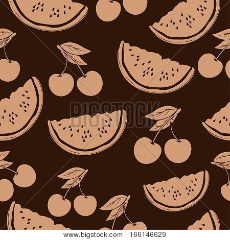 Slice Of Watermelon And Cherry In Beige Tones, Vintage Seamless Pattern, Fruit Cartoon Background, H