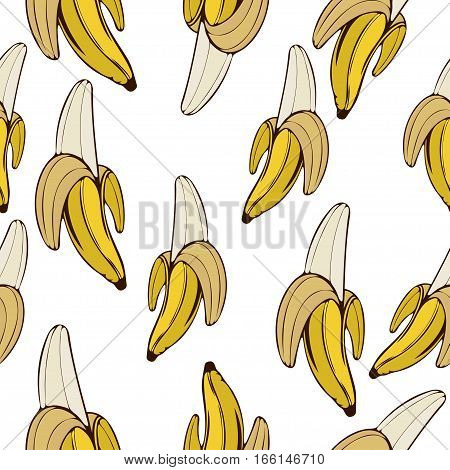 Bananas Seamless Pattern, Fruit Background. Drawing  On A White , Cartoon, Hand-. For The Design Of