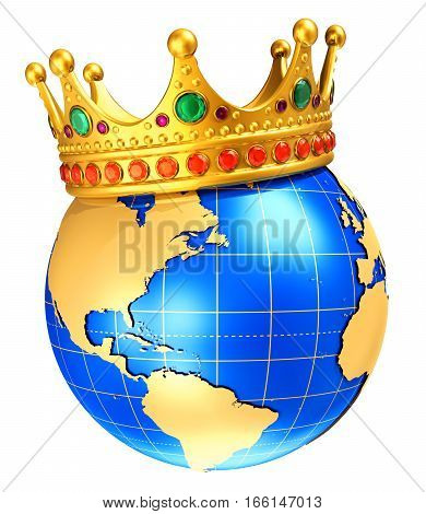 3D render illustration of the blue Earth globe planet with world map and golder royal crown isolated on white background