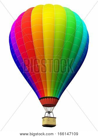 3D render illustration of color rainbow hot air balloon with gondola basket isolated on white background