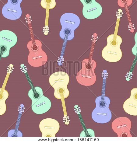 Guitars Multicolored Seamless Pattern, Musical Background. Colorful Drawn Guitar On A Purple . Vecto