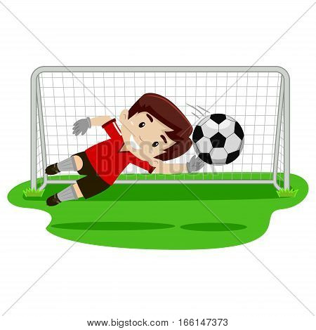 illustration of a goalkeeper Boy trying catching the ball on football gate