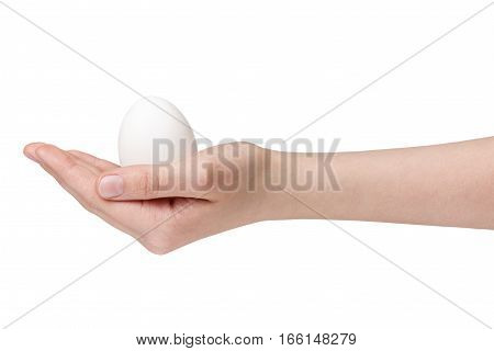 female teen hand holding white chicken egg isolated on white background