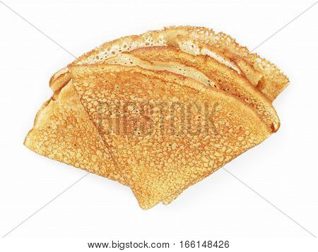 fresh homemade blinis top view isolated on white background