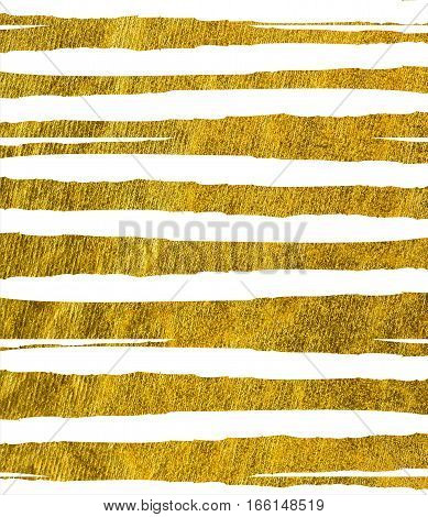 Ragged, jagged golden stripes on a white background. Texture gold.