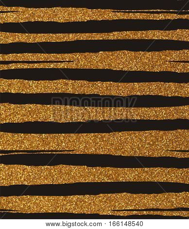 Golden ragged, uneven glittery stripes on a black background. The texture of the glitter. Rectangular, vertical.