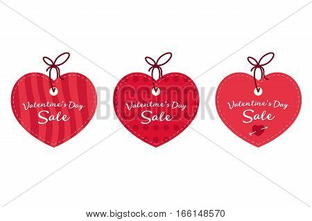 Valentine's day sale offer banner template. Red heart with lettering isolated on white background. Valentines Heart sale tags. Shop market poster design. Vintage style