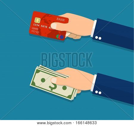 Hands holding credit card and money bills. Vector illustration in Flat style
