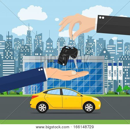 hand gives car keys to another hand. car rental or sale concept. Customer buying car from dealer concept. vector illustration in flat style.